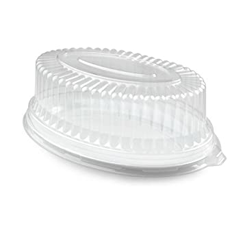 Juego de 3 bandejas de plástico ovaladas para servir con tapa de seguridad (20 cm