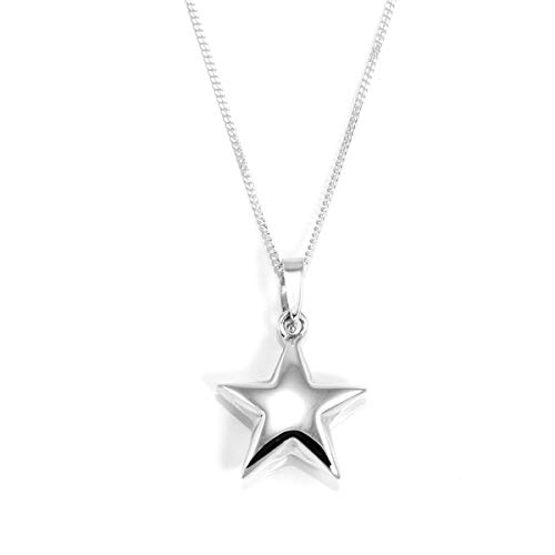 925 Real Sterling Silver Puffed Star Pendant Necklace - 18 Inches (Silver Star Puffed Sterling)