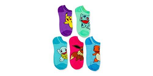 Pokemon-Striped-5-pk-No-show-Socks