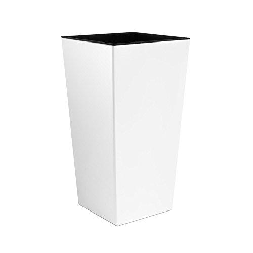 Blumentopf Übertopf Coubi Prosperplast Urbi Square 49lt hoch mit Einsatz breit 32cm Farbe: weiß