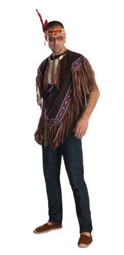 [Rubie's Costume Heroes And Hombres Men's Native American Costume Poncho, Brown, X-Large] (Male Indian Costumes)