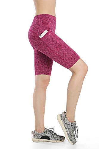 (Annjoli Women's Active Fitness Workout Running Yoga Shorts Workout Tights Yoga Shorts with Pockets (XL, Rose red))