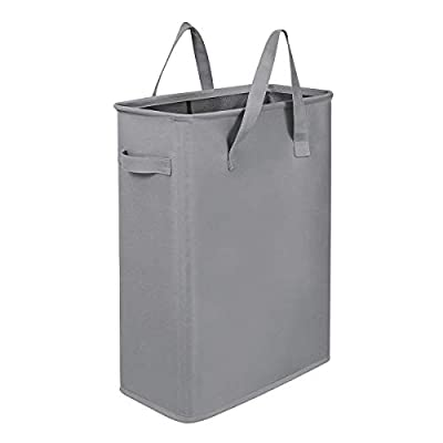 "Chrislley 45L Slim Laundry Hamper Small Laundry Basket Narrow Thin Laundry Hamper Dirty Clothes Hamper with Handles Collapsible Hampers for Laundry(Slim 21 Inches, Grey) - SMALL LAUNDRY HAMPER -- The size of slim hamper is 15.2""X 8.5""X 21""(PLEASE CHECK DIMENSIONS CAREFULLY). Our small laundry baskets are in slim shape so we suggest you can put light clothes on it. Suitable for small spaces between washing machines and dryers. DURABLE MATERIAL & SOFT HANDLE -- Our small clothes hamper is crafted from thick but heavy-duty double-layered 600D Oxford Fabric and thick PE board in the bottom for stability. Design with soft handles are easy to transport without physical strain. DURABLE AND MESH DESIGN -- Framework design (wire frame and built-in iron frame) make the collapsible clothes hamper more firm, stable and durable. Mesh design keep the inside of the clothes clean and tidy. - laundry-room, hampers-baskets, entryway-laundry-room - 31PhCb6cI8L. SS400  -"