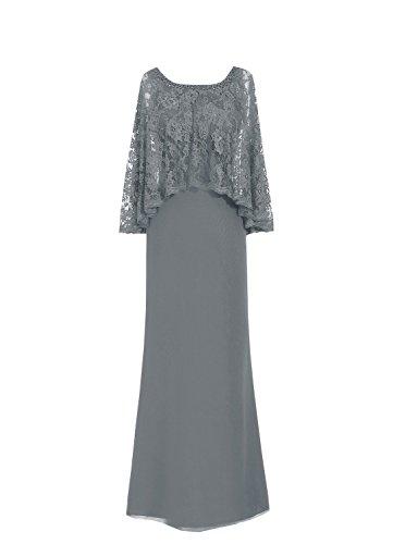 kleidet Braut Mutter Stahlgrau HWAN formale Spitzen Korne Kleider Chiffon Mantel Abschlussball der OIqOxtpw5a