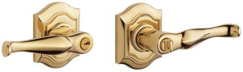 Keyed Lever Bethpage Entry - Baldwin 5238.003.LENT Bethpage Lever Keyed Entry Set, Lifetime Polished Brass