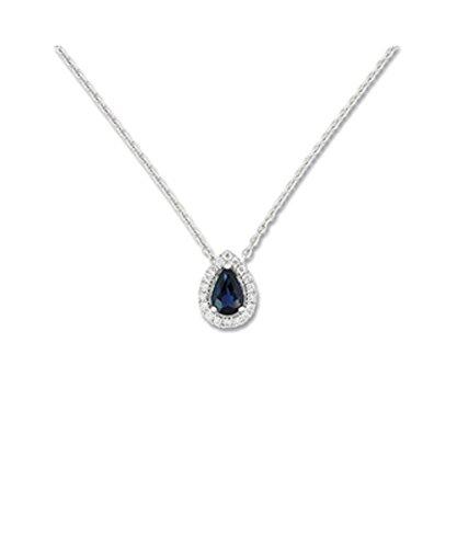 OR by Stauffer - Collier or gris 750/1000, Saphir bleu et diamants by Stauffer