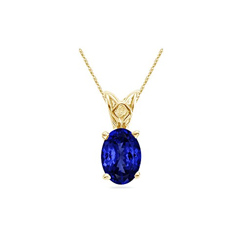 - 1.00-1.52 Cts of 8x6 mm Heirloom Quality Oval Tanzanite Solitaire Scroll Pendant in 14K Yellow Gold - Valentine's Day Sale