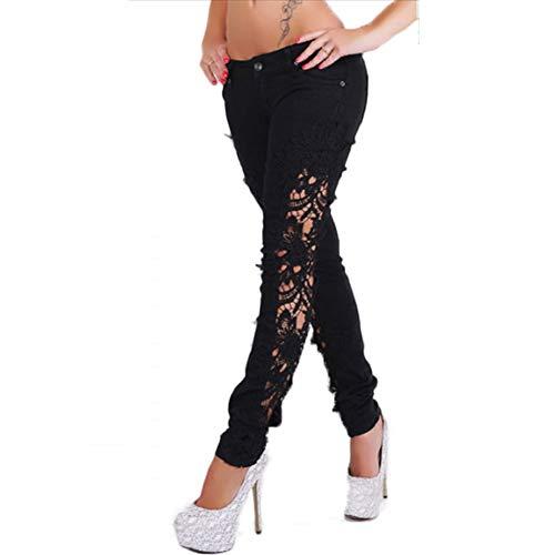 Black De De De Encaje Mezclilla Mezclilla Mujeres Pantalones Pantalones De Pantalones Pitillo Las De MYX Mezclilla O4ZqR