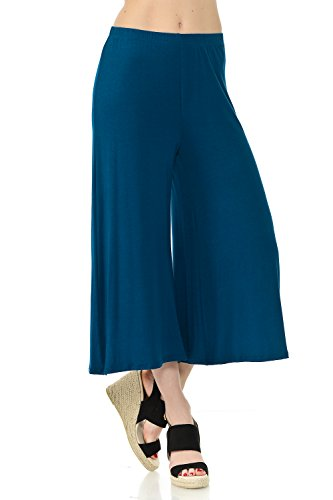 iconic luxe Women's Elastic Waist Jersey Culottes Pants Medium Teal