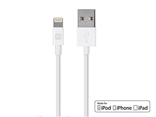 Durable Series - Monoprice Select Series Apple MFi Certified Lightning to USB Charge & Sync Cable, 3ft White