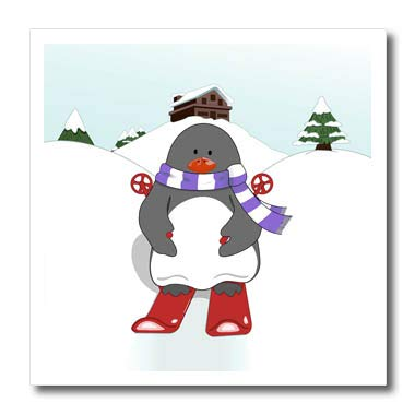 Sporty Cuthbert Penguin Illustration Ice Skating T-Shirts Animal Designs and Prints 3dRose Natalie Paskell