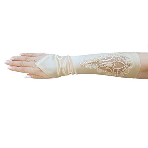 ZaZa Bridal Satin Fingerless Gloves w/Floral Embroidery Lace, Sequins & Pearls-Ivory