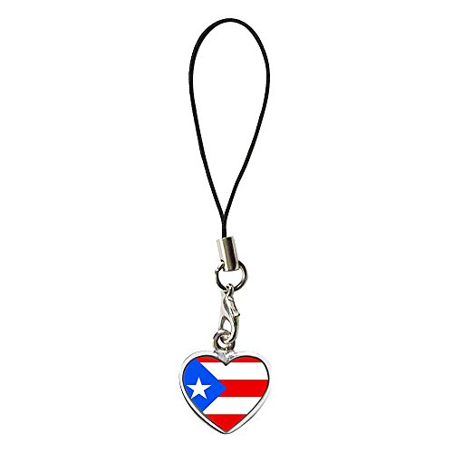 GiftJewelryShop Silver Plated Puerto Rico flag Flower Photo Dangle Heart Strap hanging Chain for Phone Cell Phone Charm