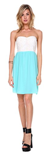 Stanzino Women's Two Tone Sweetheart Chiffon Mini Dress
