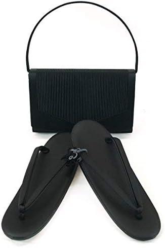 和装 草履バッグセット 喪服用 黒 ブラックフォーマル 礼装用 ハンドル取り外し式 S M L LLサイズ m-052