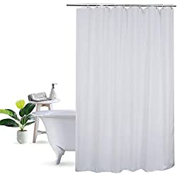 UFRIDAY 36 Inch Shower Liner, Solid White Fabric Shower Curtain Mildew Resistant and Waterproof, Suitable for Any Decor/Hotel, Stall Size 36 x 72