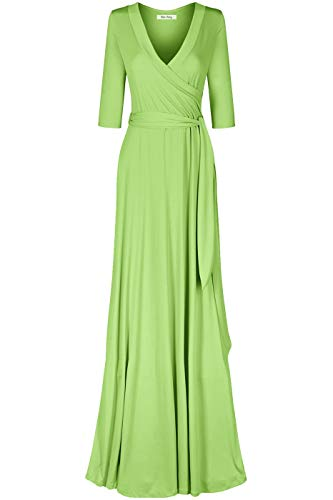 Bon Rosy Women's MadeInUSA 3/4 Sleeve Deep V-Neck Maxi Faux Wrap Solid Dress Summer Wedding Guest Party Bridal Baby Shower Maternity Nursing Lime L