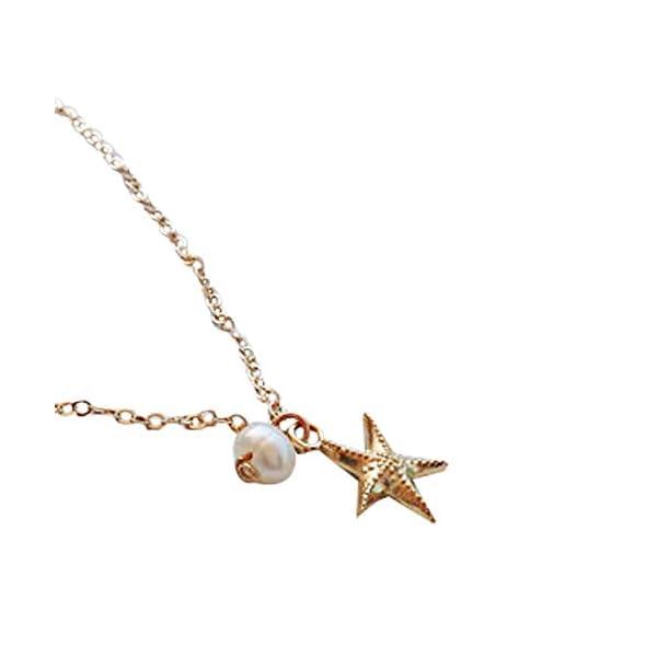 WeiMay 1 x Lovely Starfish Shape cavigliera perla sandalo a piedi nudi accessori da spiaggia piede gioielli 2 spesavip