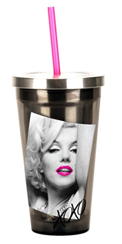 Spoontiques 20500 Marilyn Stainless Steel Cup with Straw, Silver (Monroe Marilyn Cup Size)