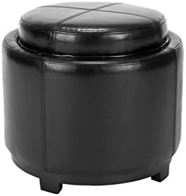 Reviewed: Safavieh Hudson Collection Bowery Black Leather Round Tray Ottoman