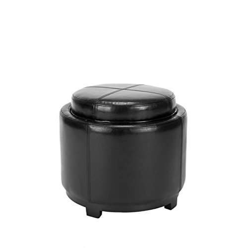 Cheap Safavieh Hudson Collection Bowery Black Leather Round Tray Ottoman