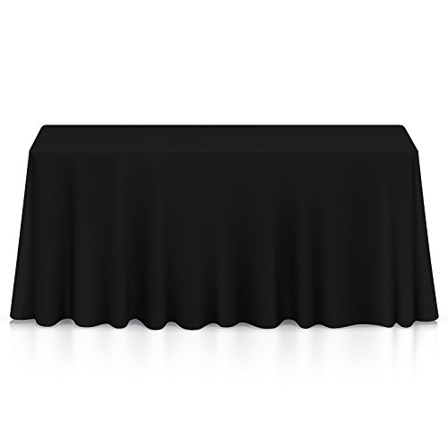 "Lann's Linens - 10 Pack of 60"" x 102"" Rectangular Black Polyester Tablecloth Covers for Weddings, Banquets, or Restaurants"