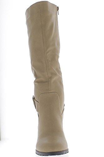 Botas mujer apodada cuero tamaño grande color beige con tacón de 9 cm de reborde
