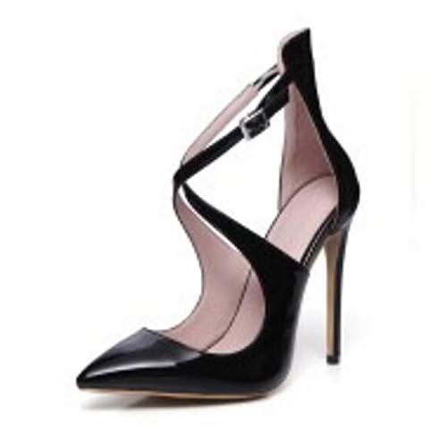 ZHZNVX Zapatos de Mujer Charol Confort Spring/Basic Pump Heels Stiletto Heel Black/Almond / Burgundy Black