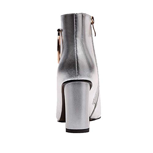 Zqzq portable bottines anti slip mode en glissière fermeture argent à cuir BB6ZwH