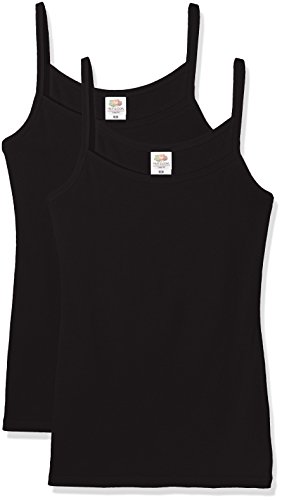 Fruit of the Loom Lady Fit Strap T, Top para Mujer Black