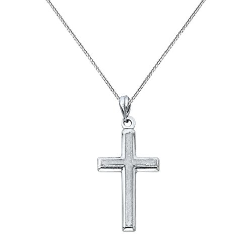 14k White Solid Gold Traditional Cross Religious Pendant with 0.8-mm Flat Wheat (14k Gold Traditional Pendant)