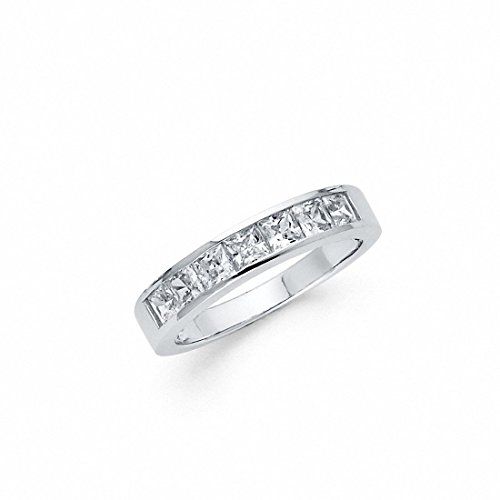 Half Eternity Invisible Wedding Band Ring Simulated Princess Cut Cubic Zirconia 925 Sterling Silver,Size-7 (Cut Half Eternity Ring)