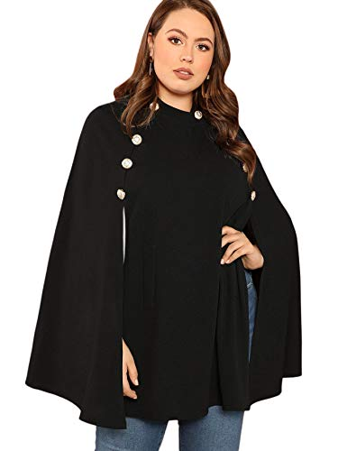 MAKEMECHIC Women's Double Button Cloak Sleeve Elegant Cape Mock Poncho Classy Coat Black-4 1XL -