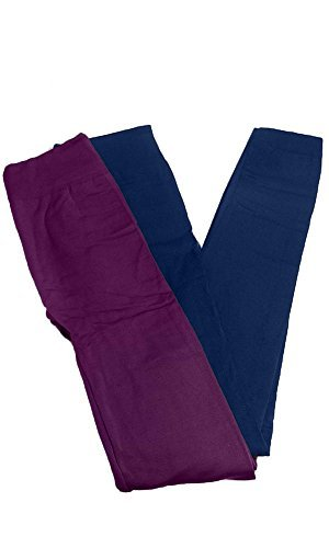 Anemone Women's Cozy Winter Fleece Lined Seamless Leggings One Size Black 2 Pk Navy/Plum One Size (Plum Navy)