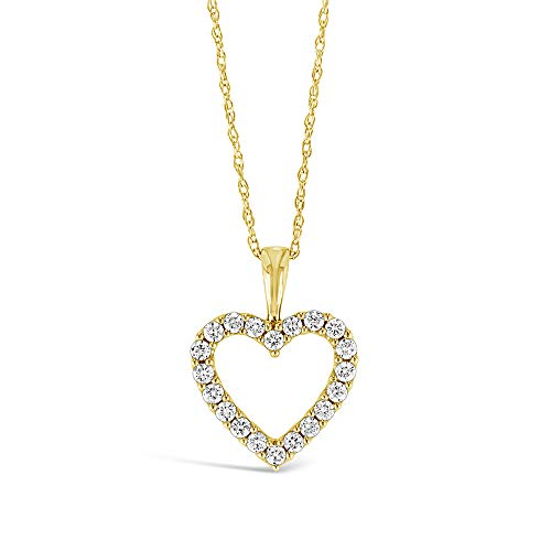 Brilliant Expressions 10K Yellow Gold 1/4 Cttw Conflict Free Diamond Open Heart Pendant Necklace (I-J Color, I2-I3 Clarity), Adjustable Chain 16-18 inch