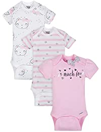 Organic Cotton Baby Girls Onesies Bodysuits 3-Pack, Size 3-9 Months
