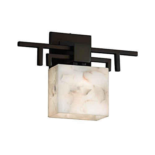 Justice Design Group Rectangular Sconce (Justice Design Group Lighting ALR-8711-55-DBRZ Justice Design Group - Alabaster Rocks! - Aero 1-Light Wall Sconce - Rectangle - Dark Bronze Finish with Alabaster Rocks Shade,)