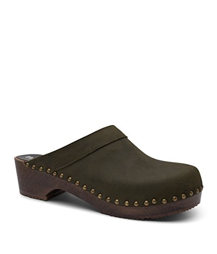 Sandgrens Swedish Wooden Clogs For Men | Bergen Olive VJ1hc