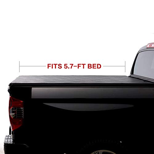 (North Mountain Soft Vinyl Roll-up Tonneau Cover, Fit Dodge Ram 09-18 1500 10-18 2500 Pickup 5.7ft Fleetside Bed, Clamp On No Drill Top Mount Assembly w/Rails+Mounting Hardware)