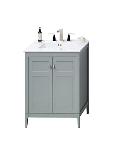 Oak Six Gun Cabinet (RONBOW Briella 24 inch Bathroom Vanity Set in Ocean Gray, Vanity Cabinet with Soft Close Doors and Cabinet Shelf, White Kara Bathroom Sink Top with 8 inch Widespread Faucet Hole 051724-3-F21_Kit_2)