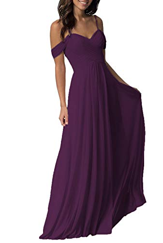 - Plum Wedding Bridesmaiad Dresses Long 2019 Cold Shoulder Pleated Chiffon Formal Dress for Women