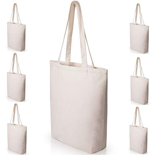 Heavy Duty and Strong Large Natural Canvas Tote Bags with Bottom Gusset (6 Pack + other sizes) for Crafts, Shopping, Groceries, Books, Welcome Bag, Diaper Bag, Beach, and Much More! -6 Pack- (15x14x4)