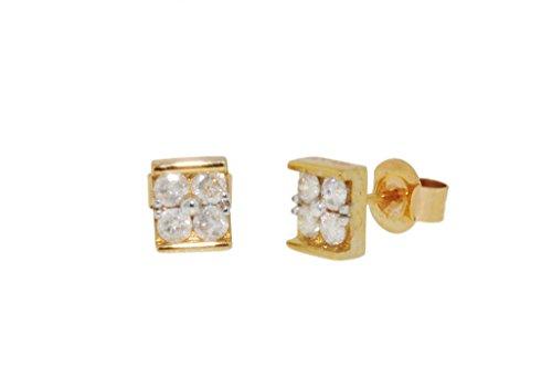 Jewellery World Bague en or jaune 9carats en forme de carré Boucles d'oreille à tige avec diamants