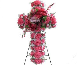 DELUXE SILK FLORAL CROSS in PINK for Grave-site Presentation in Remembrance of Loved Ones. Easel Mounted