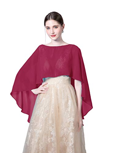 Wedding Capes Womens Soft Chiffon Shrug Bridal Long Shawl and Wraps (Wine -