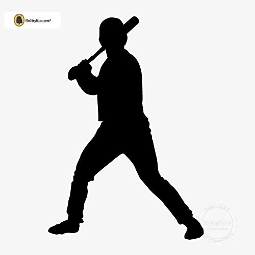 (TheVinylGuru - Baseball Wall Decal - Right Handed Batter Vinyl Art for Home Decor - Removable Giant Sticker - Batting Player Silhouette for Boys and Girls - Safe Outline Figure)