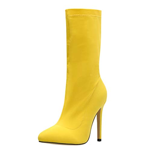 ◕‿◕Watere◕‿◕ Women's Boots,Elastic Cloth Candy-Colored Pointed Stiletto High-Heeled Short Boots Party Thin Heels Shoes Yellow ()