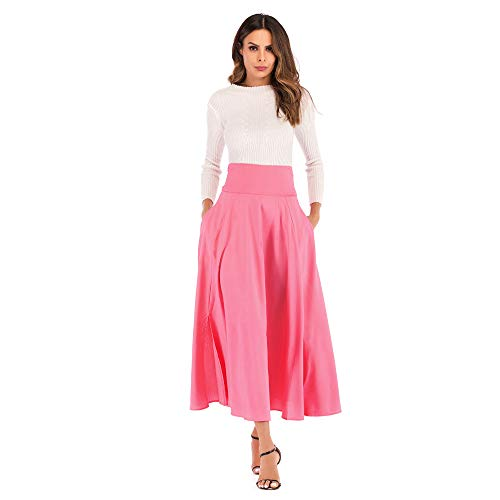 TOTOD Skirts for Women, Fashion Women High Waist Pleated A Line Long Skirt -Ladies Front Slit Belted Maxi Skirt ()