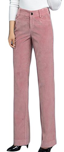 XTX Womens Corduroy High Waist Slim Fit Solid Winter Fall Pant Trouser Pink Small - 5 Pocket Washed Corduroy Pants