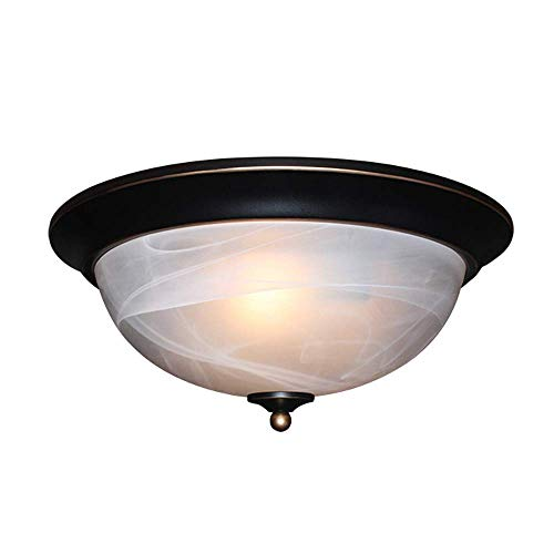 Mengzhu-Michelle E27 Retro Ceiling Light Ceiling Lamp Round Living Room Bedroom Lamp Ø33 H15cm 3 Flames European Ceiling Lighting Alabaster Glass Lampshade (Ø33cm)